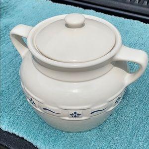 Longaberger Pottery Lidded Cookie Jar